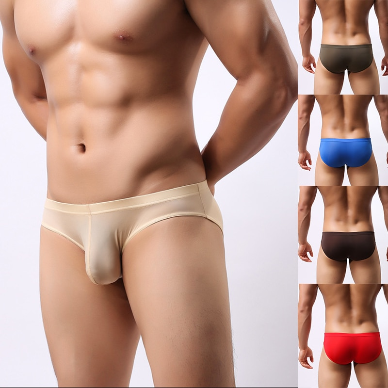 Men's U Convex Pocket Briefs Sexy Ultra-thin Transparent Ice Silk Briefs for Men Fork Low Waist Sexy Shorts Underpants Sexy Man