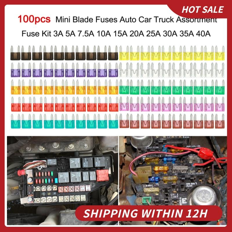 Fusibles de Mini cuchilla de 100 Uds. Para coche y camión, Kit surtido de fusibles 3A, 5A, 7,5a, 10A, 15A, 20A, 25A, 30A, 35A y 40A para coche y camión