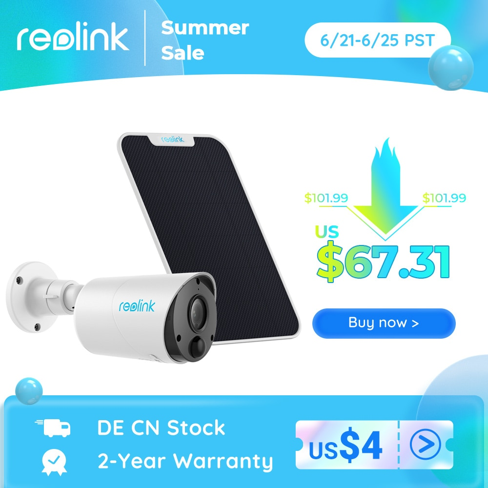Reolink Argus Eco and Solar Panel Wireless WiFi Camera 1080P Outdoor 2-way Audio PIR Rechargeable Battery Support Google Home
