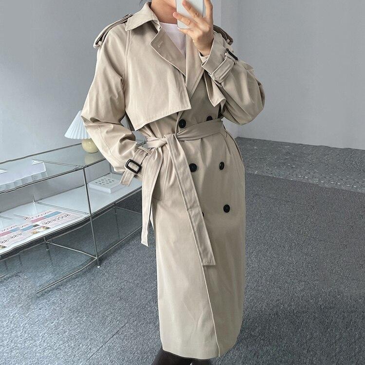 Korean Women Windbreaker Coat Autumn Chic Lapel Double Row Buckle Waist Slim Over Knee Long