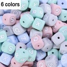 Lot de 200 perles en silicone représentant les 26 lettres, avec 6 couleurs, sans BPA, de qualité alimentaire à mâcher