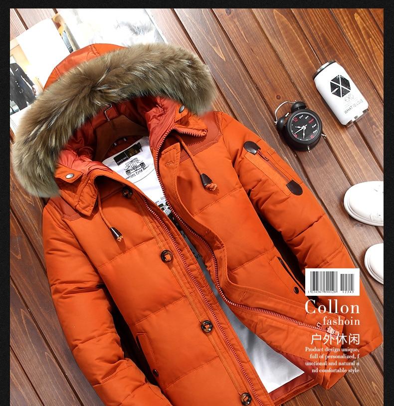 Зимние куртки с большим капюшоном из натурального меха, мужские теплые пуховики высокого качества, мужская повседневная зимняя верхняя оде...