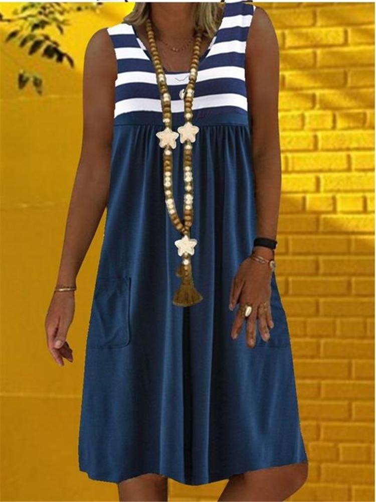 scoop neck sleeveless striped loose fitting dress for women Fashion Sleeveless Loose Dress Casual Plus Size Dress Striped Dress Women