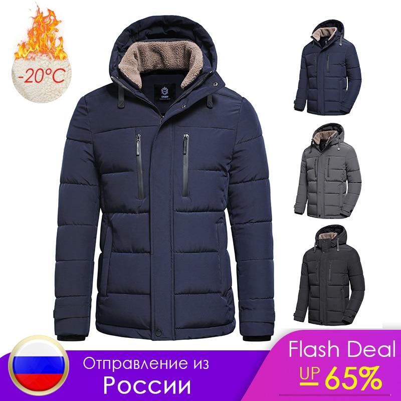 Men 2021 Winter New Classic Warm Fleece Detachable Hat Parkas Jacket Coat Men Autumn Outwear Outfits Pockets Parka Jackets Men