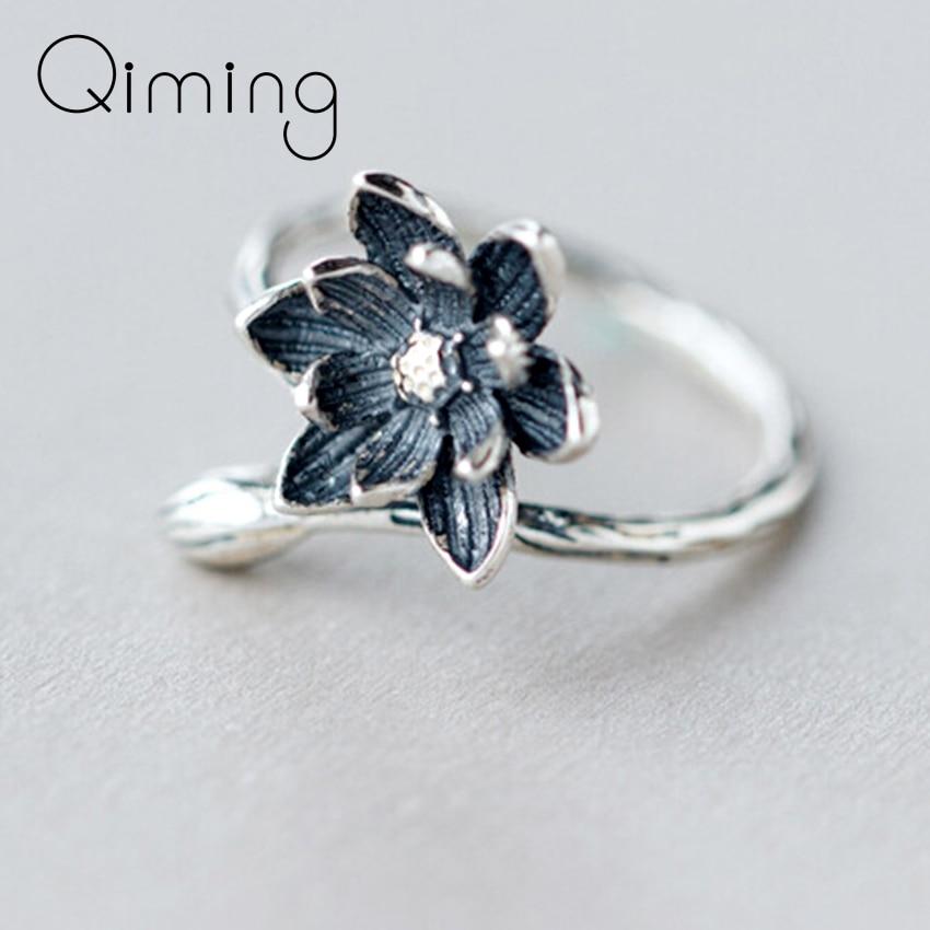 Anillos únicos negros de flor de loto, anillo de dedo abierto para mujer, regalo de fiesta de Navidad para mujer, accesorios de joyería para niña