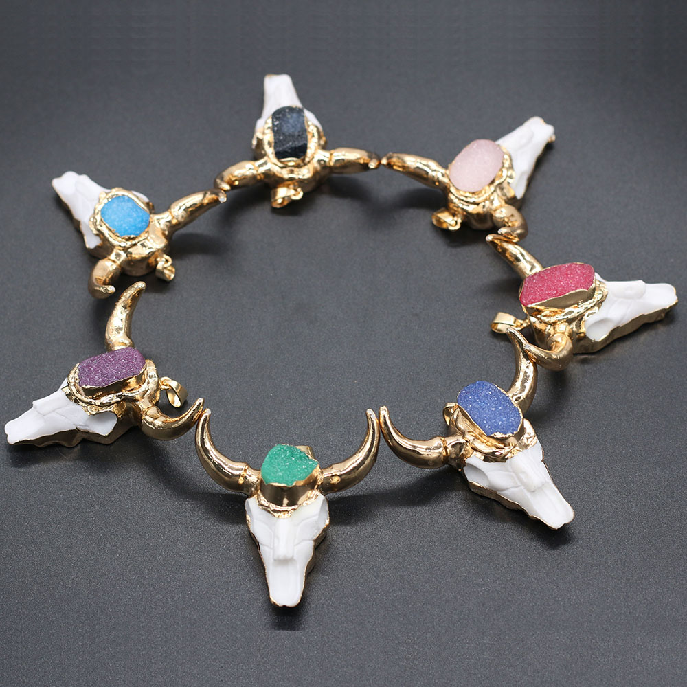 2021 New Natural Stone Bull Bone with Agates Druzys Pendant Bull Head Shape Charms for DIY Necklace Jewelry Making Gift 46x46mm  - buy with discount
