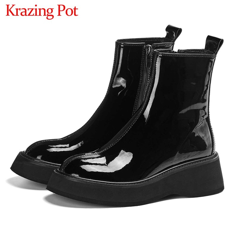 asumer black fashion winter snow boots round toe keep waem knee high boots zip shearling comfortable pu cow leather boots women Krazing Pot hot cow leather thick bottom Chelsea boots side zip black colors round toe winter keep women fashion ankle boots L16