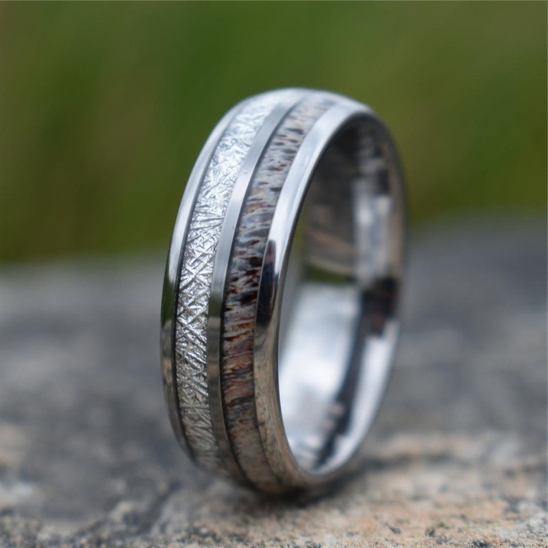 Fashion 8mm Mens Tungsten Carbide Ring Inlay Deer Antler And Meteorite Silvery Brushed Wedding Band Jewelry Gift