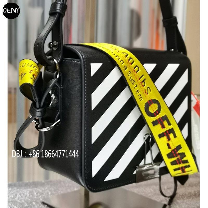 Famoso designer preto branco listrado bolsa de couro diagonal clipe bolsa de luxo tendência alça amarela bolsa de ombro