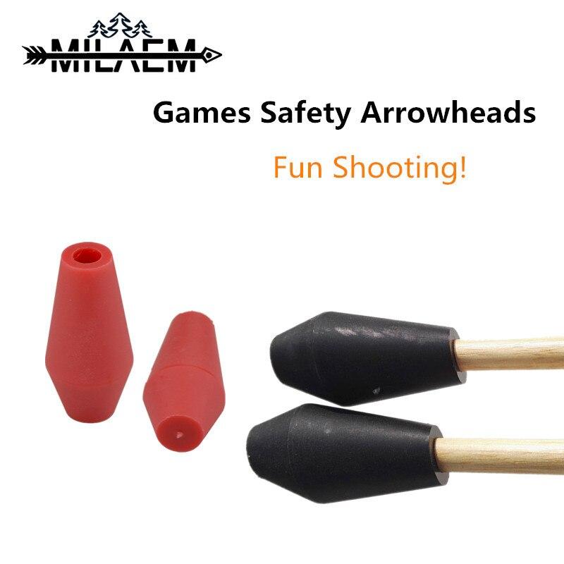 Puntas de flecha de goma suave para tiro con arco 10 Uds. Para ID 8mm, accesorios de caza de tiro al aire libre