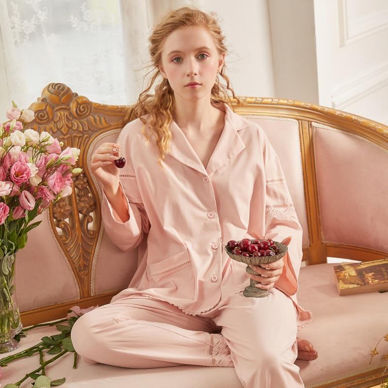 بيجاماس ملابس نوم قطنية كم طويل بيجامات نسائية للربيع والخريف Pj أطقم نسائية