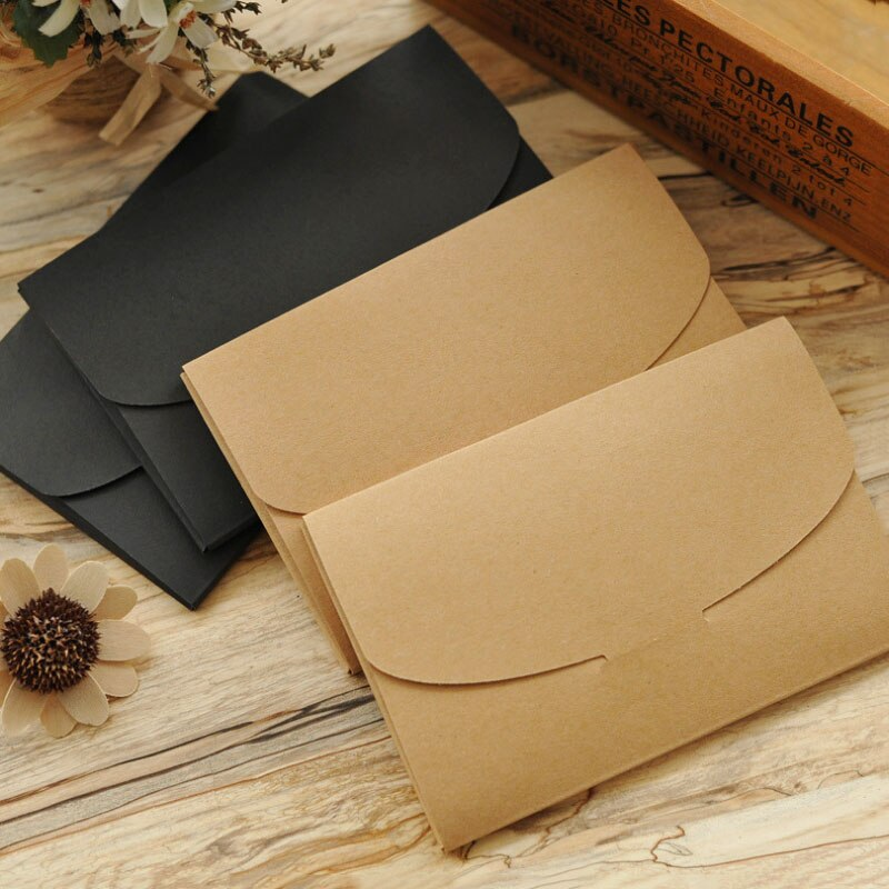 Caja para sobres de papel Kraft negro Vintage, 30 Uds., bolsa para postales, caja de embalaje multifunción DIY con ventana, caja de embalaje para recuerdos de fiesta