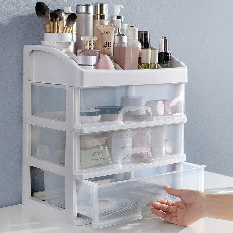 درج مستحضرات التجميل البلاستيكي ، صندوق تخزين المكياج ، حاوية المجوهرات ، حافظة متعددة الطبقات ، منظم فرش المكياج