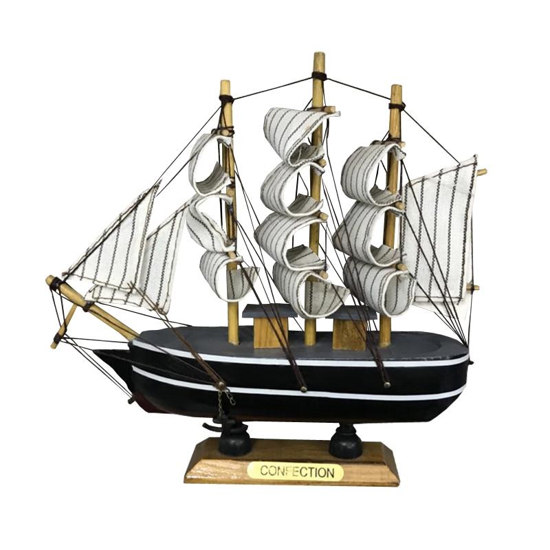 LUCKK White Sailing Boats 17cm*5cm*17cm Children Toys Gift Ship Model Wooden Sailboat Miniature Boat Home Decoration  2005P-16