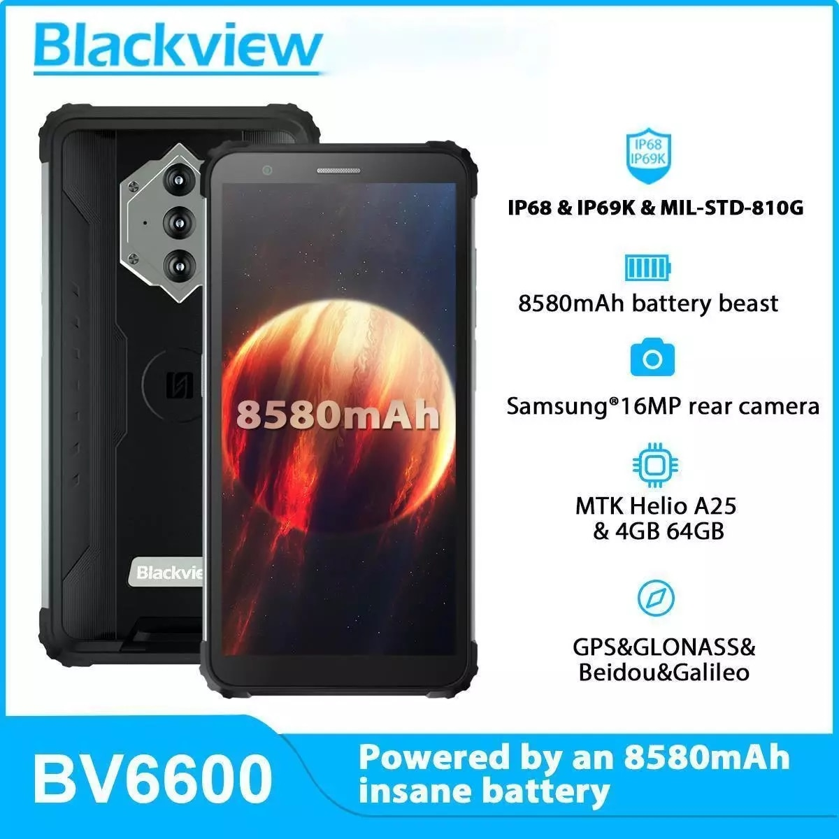 Blackview BV6600 прочный смартфон 5,7 дюймов 8580 мА/ч, 4 Гб + 64 ГБ Восьмиядерный мобильный телефон Android 10 16MP Камера NFC мобильных телефонов