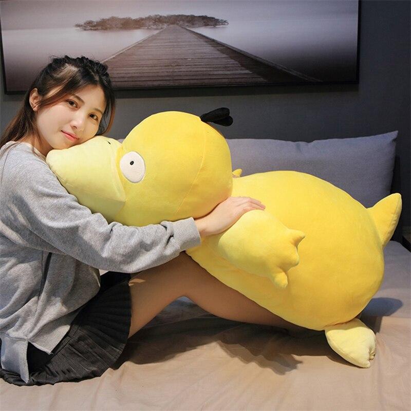 Kawaii psyduck daze pato amarelo pelúcia tamanho grande travesseiro macio decoração para casa sofá boneca brinquedos para crianças presente da namorada