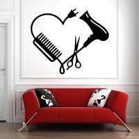 hair salon wall window vinyl sticker hair stylist hair tools scissors barber shop beauty salon decal 2169