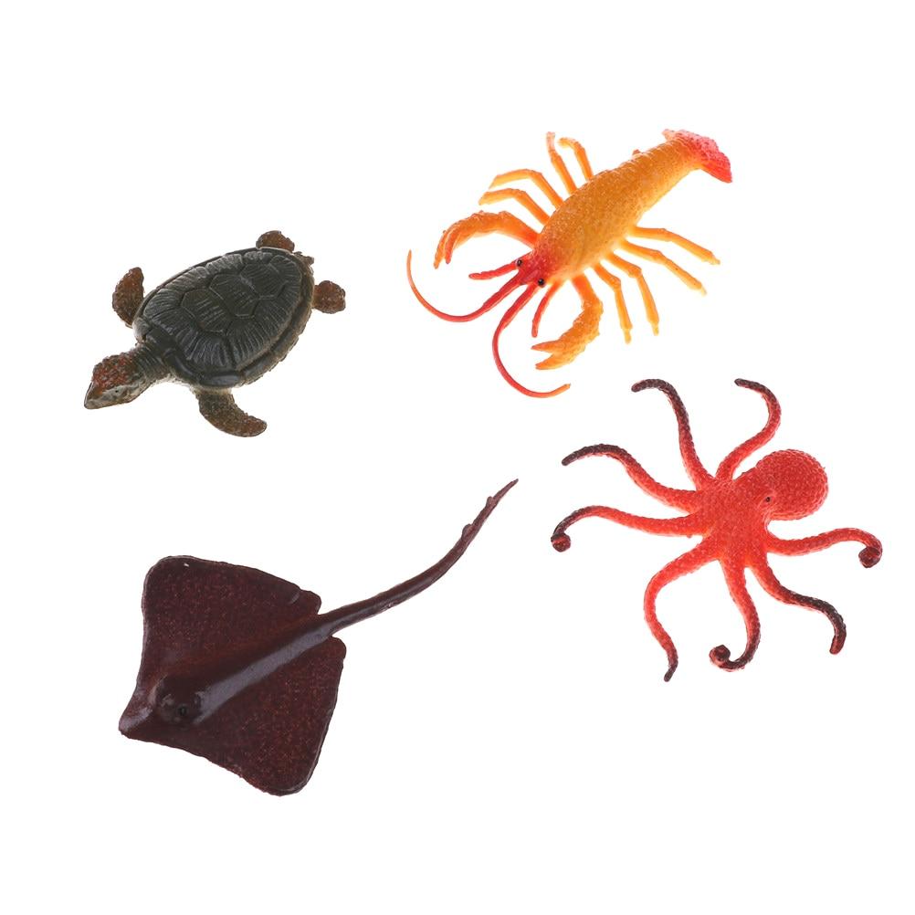 1 conjunto/12 pçs mar figuras animais marinhos criaturas do oceano vida marinha tubarão baleia caranguejo plástico crianças brinquedo peixe miniatura 4.5-8cm