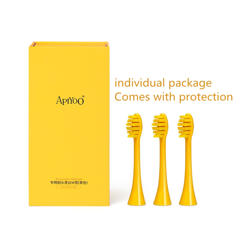 Apiyoo adult Kid Electric Toothbrush Original Yellow Red Replacement Brush Head DuPont Soft Hair 3 Sticks Adult  Colorful Unisex enlarge