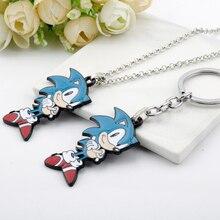 Game Anime Figure Sonic Hedgehog Necklace Enamel KeyRing Cartoon Metal Alloy Keychains Kids Toy Key Holder Trinket Gift