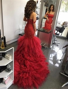 Red Crystals Beaded Mermaid Evening Dresses 2020 Off Shoulder Plus Size Tiered Tulle Skirt Arabic Dubai Pageant Prom Gown