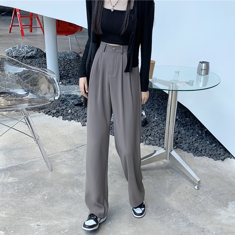 Брюки женские повседневные, прямые свободные тонкие широкие брюки с завышенной талией, в повседневном стиле, весна-осень