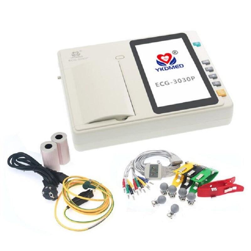 النسخة الإنجليزية من YKDmed ثلاث قنوات تخطيط القلب (مع الملحقات القياسية)