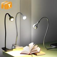 Lámpara LED de escritorio con Clip, luz LED Flexible de 1W para lectura de libros, fuente de alimentación USB, luces LED nocturnas