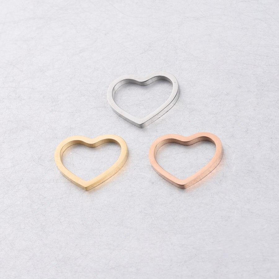 Fnixtar полые сердца зеркальные шармы полированная нержавеющая сталь любовь подвески-шармы в форме сердца DIY Аксессуары 13*15 мм 20 шт./лот