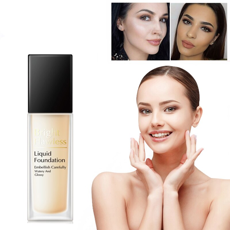 BLUETHIN Base Face Liquid Foundation Cream Full Coverage Concealer Oil-control Easy to Wear Soft Face Makeup Foundation