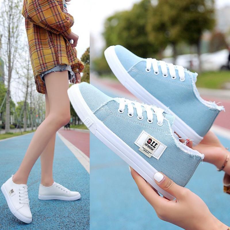 أحذية رياضية أحذية نسائية قماش موضة ShoesLow-cutRound تو حزام خفيفة الوزن مريحة للتنفس أحذية نسائية عادية