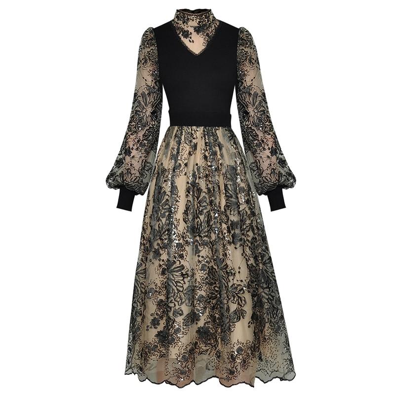 ملابس الخريف السيدات أنيقة الوقوف طوق فانوس الأكمام ميدي طول زهرة مطرزة الترتر فستان Vintage بالجملة