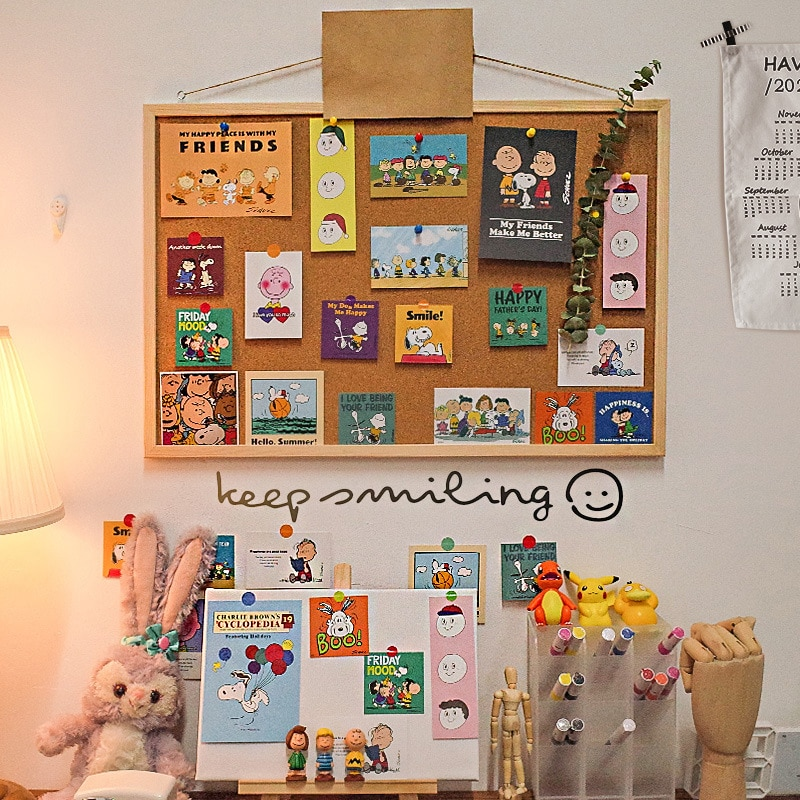 Kawaii Soft Wooden Letter Message Board Decorative Postcard Photo Wall Cork Board Memo Paper Background Board Stationery
