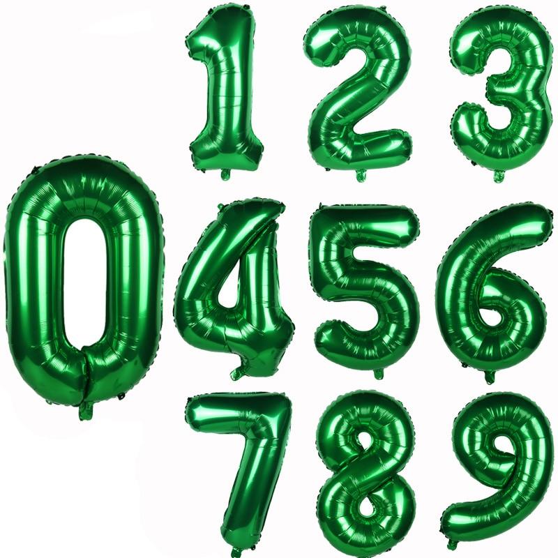 Cyuan 32/40inch green number balloons Foil Balloon Jungle Safari Birthday Balloon Party Baloon 0 1 2 3 4 5 6 7 8 9 globos Balls