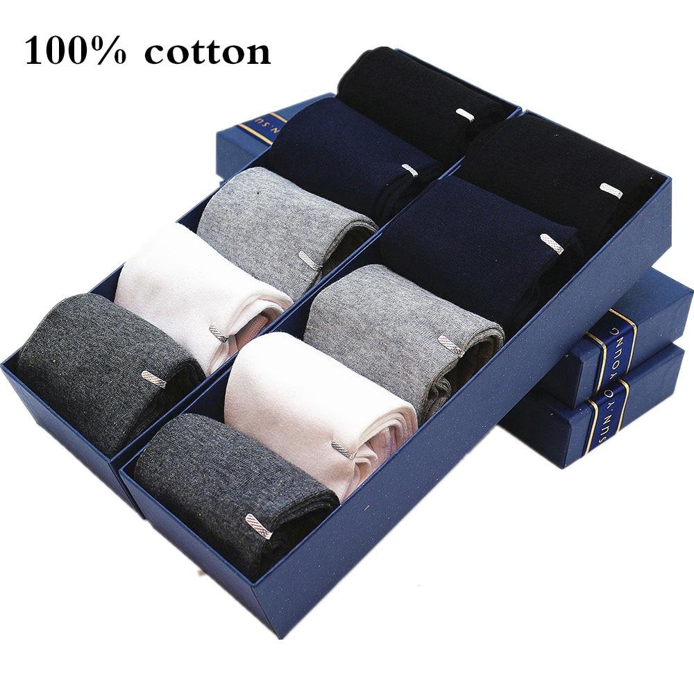 New Men's Cotton Socks Black White Business Men Plus Size Socks Soft Breathable Summer Winter for Male 100 Cotton Socks 5 Pair