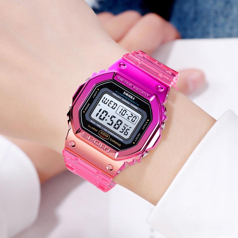 SKMEI Women Sweet Sport Style Watch Fashion Colorful Wrist Watch Transparent Bracelet Shock Resistant Female Clocks Relojes 1622 enlarge