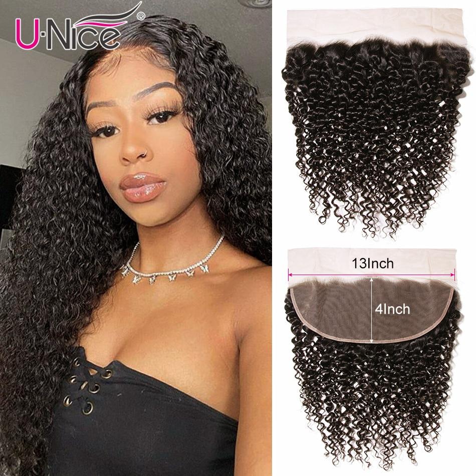 Unice Hair-100% شعر بشري برازيلي مجعد ، شعر ريمي ، 13 × 4 ، منتف مسبقًا ، من الأذن إلى الأذن ، توصيل مجاني