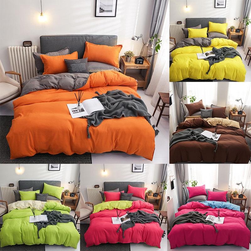 Juego de ropa de cama de Color liso con estampado de naranja, gris, amarillo, breve, ropa de cama para adultos, funda de edredón, sábanas, fundas de almohada individuales