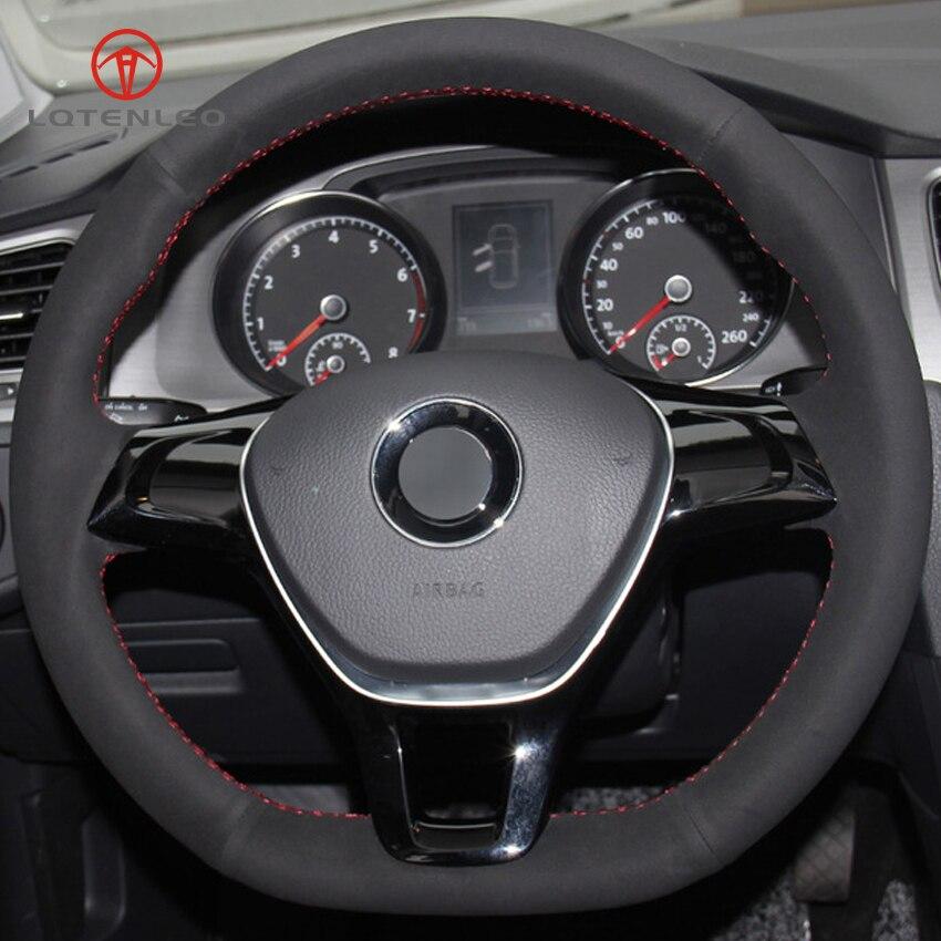 LQTENLEO de gamuza negro DIY protector para volante de coche para Volkswagen VW Golf 7 Mk7 nuevo Polo Jetta Passat B8 Tiguan Sharan 2016-2017