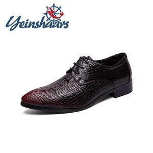 New Men Casual Natural Leather Crocodile Pattern Formal Shoes Pointed Toe Elegant Evening Dresses Evening Wedding Shoes Business