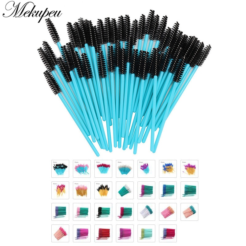 50 Pcs/lot Nylon Golden Blue Handle Mascara Wands Applicator Disposable Eyelash Brush For Extension Makeup Brushes