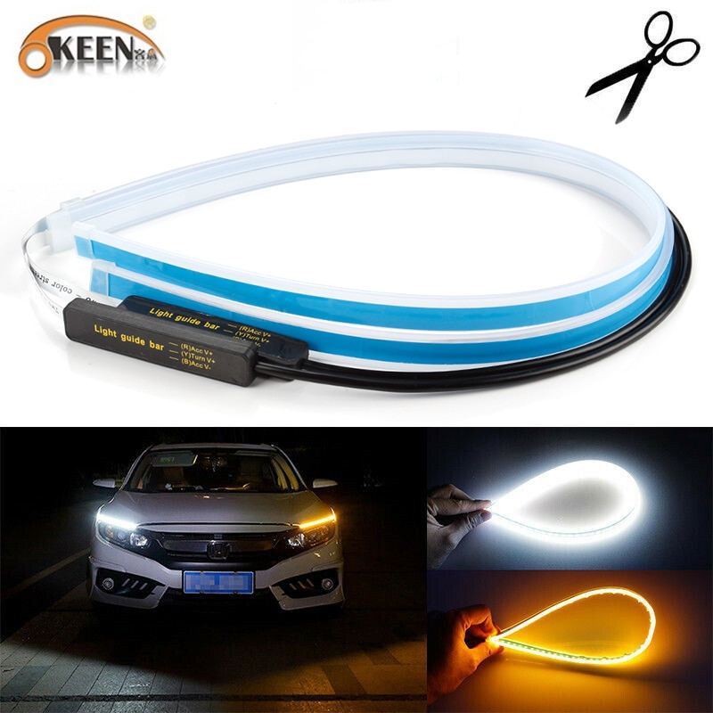 OKEEN 2pcs Waterproof Flexible Universal Car LED DRL Daytime Running Light Flow Runs Headlight LED S