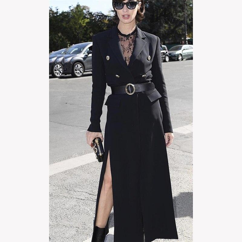 معطف نسائي طويل موضة 2020, معطف نسائي طويل ذو جودة عالية للخريف والشتاء ، معطف بمقدمة مفتوحة وثنيات مع حزام ، ملابس خارجية أنيقة للنساء NP1264A