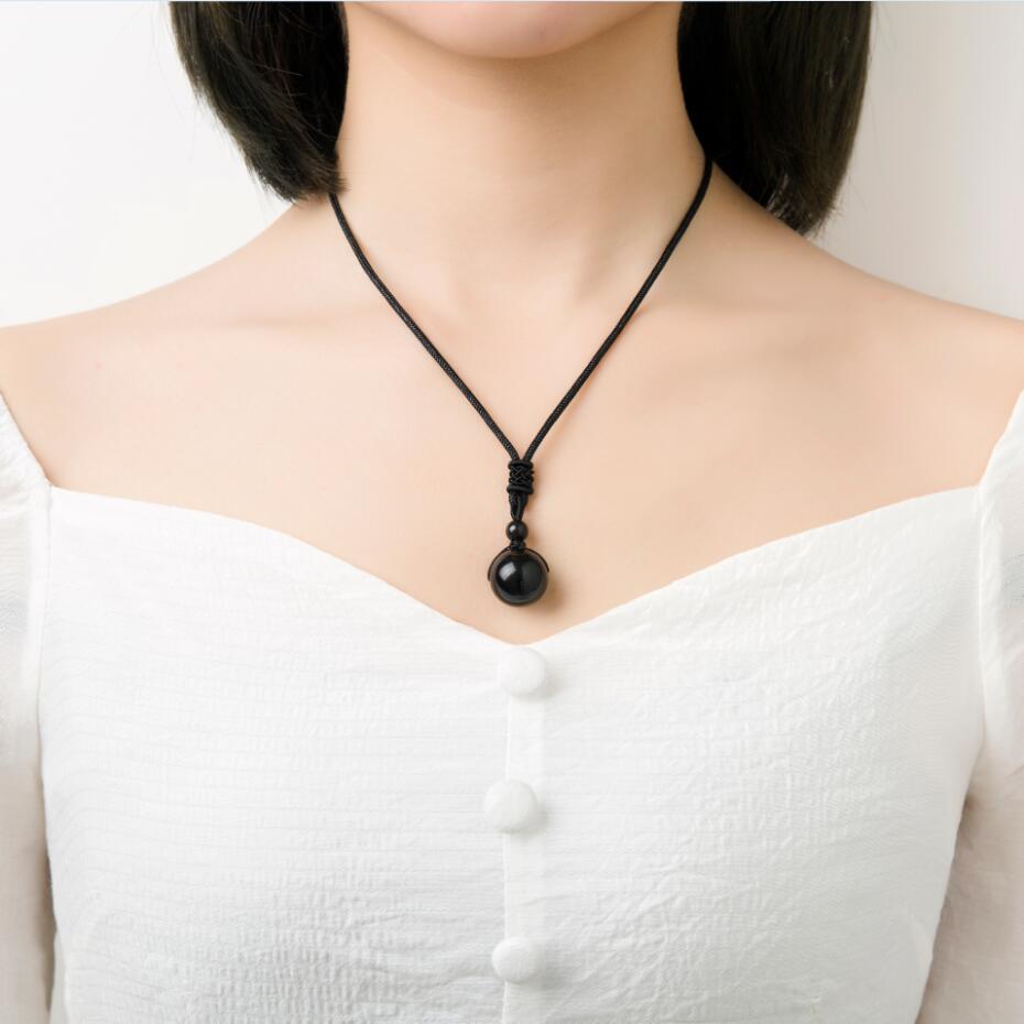 Mode Regenbogen Schwarz Obsidian Perlen Ball Natürliche Stein handgemachte webart seil Anhänger