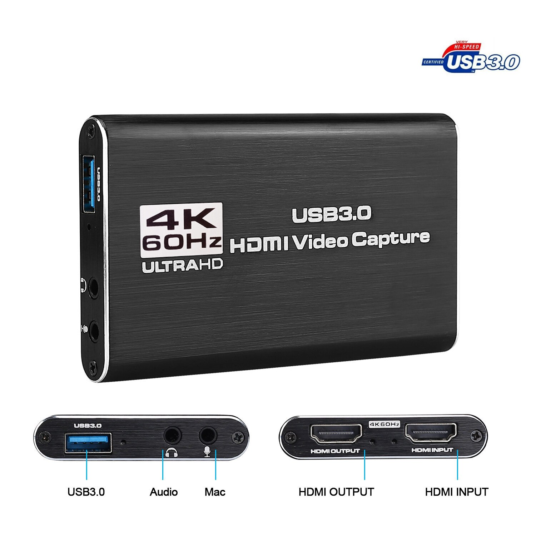 USB Capture USB 3,0 HDMI 4K60Hz Video Capture HDMI zu USB Video Capture Card Dongle Spiel Streaming Live-Stream Broadcast MICinput