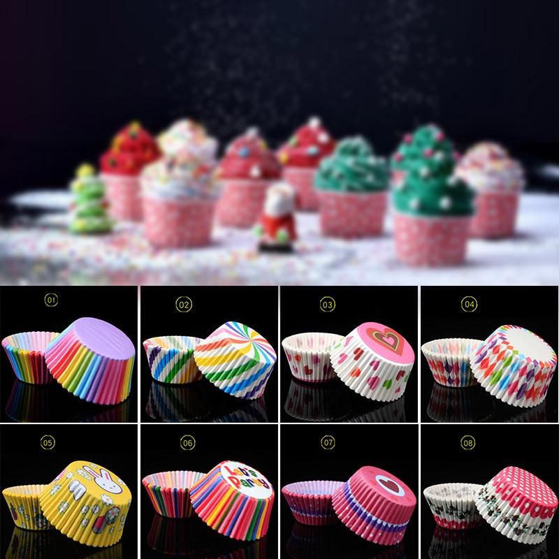 100 Uds. Papel de arco iris pastel Cupcake Liners Magdalena de repostería estuche con forma de taza para fiesta en casa boda MYDING