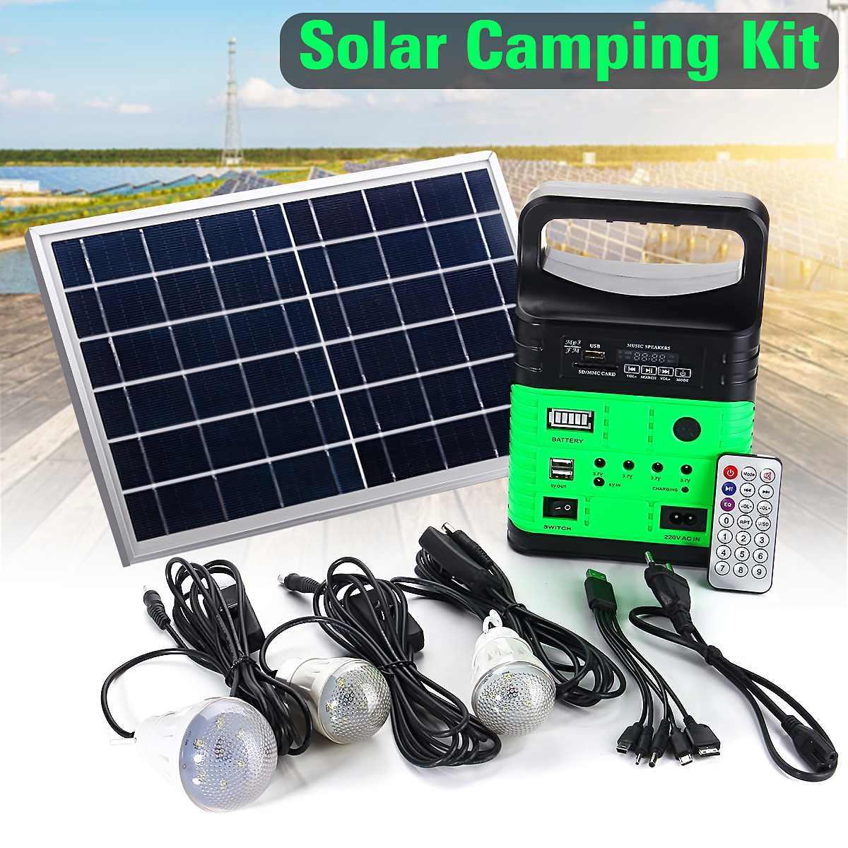 1 ensemble Portable 10W générateur solaire puissance extérieure Mini DC10W panneau solaire 6V-9Ah batterie au plomb chargeur LED système déclairage