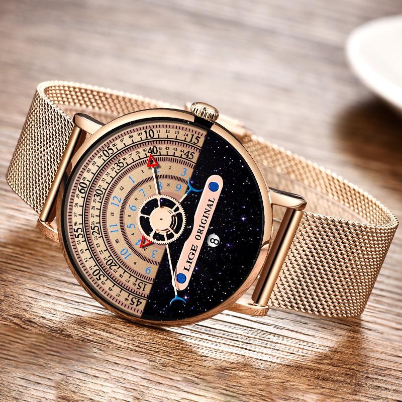 Męskie zegarki LIGE modny Top marka luksusowy Ultra cienki zegarek kwarcowy dla mężczyzn siateczkowy pasek wodoodporny złoty zegarek Relogio Masculino