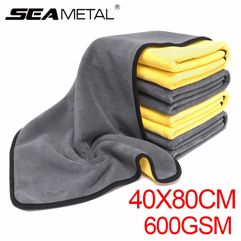 Toalla de microfibra trapo lavado coche súper grueso absorbente limpieza paño de secado cuidado del coche pulido Toalla de limpieza al detalle 80x40cm