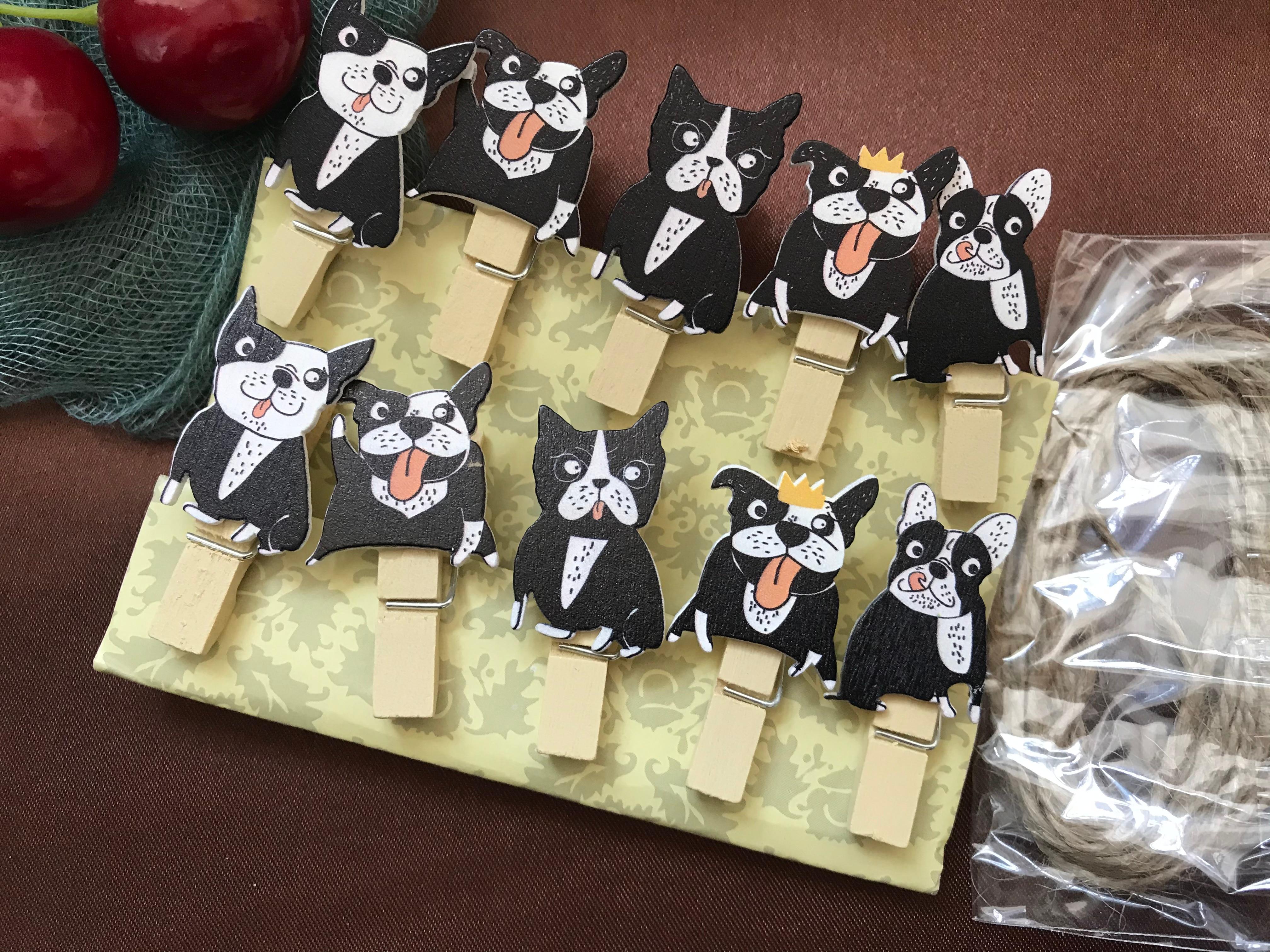 30 stücke Schwarz Hund Holz Pegs,Pin Clothespin Handwerk Clips, woode Clips mit Schnur für kinder Geburtstag Partei Dekoriert Geschenk Favor